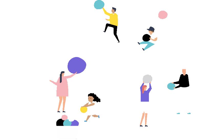 grafiikka: puu, ihmiset siirtävät palloja oksilla ja maassa