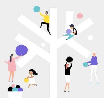 Grafiikka: puun ympärillä aikuisia ja lapsia keräämässä palloja.